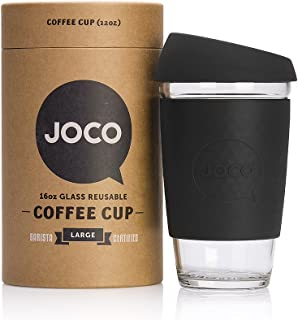 JOCO 16oz Glass Reusable Coffee Cup (Black)