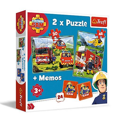 Trefl TR90791 Feuerwehrleute in Aktion, Feuerwehrmann Sam 2 x Puzzle + memos, für Kinder ab 3 Jahren Puzzlebox, Mehrfarbig