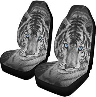 INTERESTPRINT Wolf Tiger and Dragon Car Seat Covers Set of 2 Vehicle Seat Protector Car Covers for Auto Cars Sedan SUV