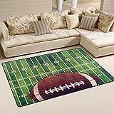 WellLee Sports Area Rug,Retro Grunge American Football Field Floor Rug Non-Slip Doormat for Living Dining Dorm Room Bedroom Decor 60x39 Inch