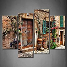 4 Panel Wall Art Streets of Old Mediterranean Towns Flower Door Windows Painting The Picture Print On Canvas Architecture Pictures for Home Decor Decoration Stretched by Wooden Frame,Ready to Hang