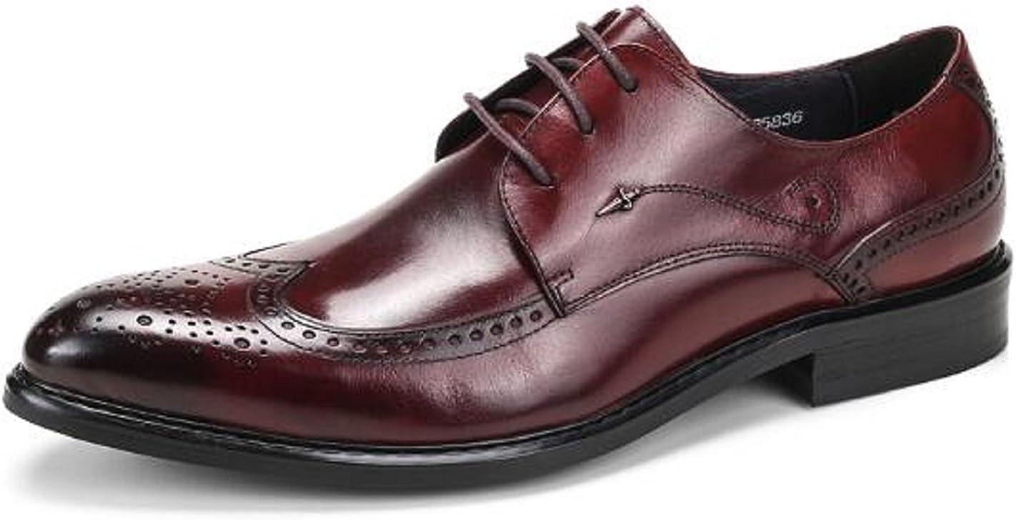 HAPPYSHOP(TM Men's Leather Lace-ups Brogue Pointed Toe Derbies Oxfords Business Dress Shoes (41 M EU, Wine Red)