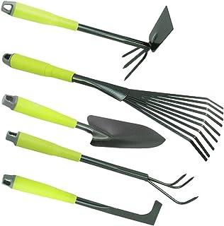 com-four® L'ensemble des Outils en 5 pièces pour Le Jardin en Vert-Serfouette à Fleurs, Balai à Gazon, Couteau désherbeur,...