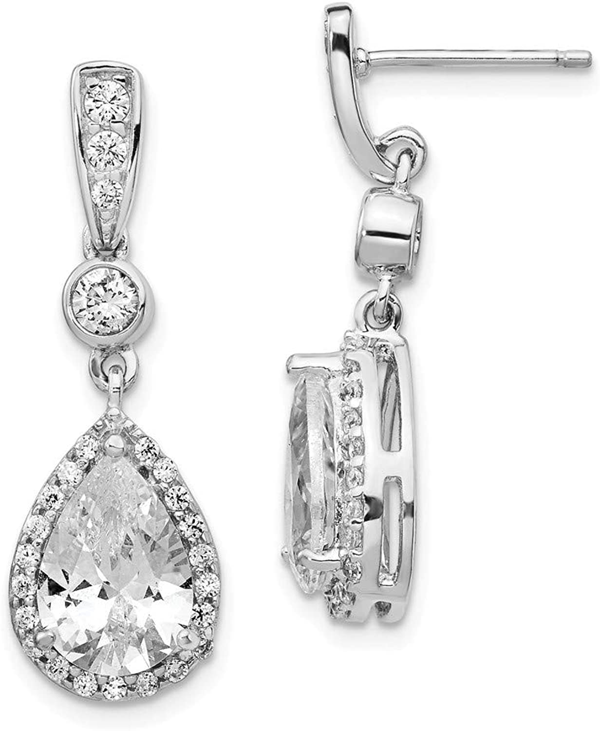Beautiful Sterling silver 925 sterling Cheryl M Sterling Silver Rhodium Plated Pear CZ Dangle Post Earrings
