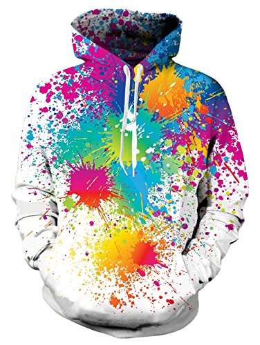 RAISEVERN Coloful Oil Paint Print Einzigartige Langarm Pullover Fleece Hooded Sweatshirts Hoodie für Gay Pride Club Frauen Männer