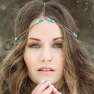 Yean Boho Turquoise Head Chain Vintage Gold Headpiece Festival Hair Accessories for Women and Girls