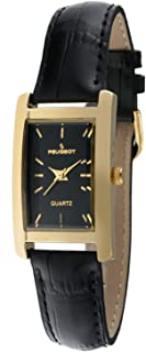 Peugeot Women's Classic 14Kt Gold Plated Watch, Rectangular Tank Shape Case with Leather Band and Easy to Read Dial