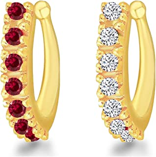 MEENAZ Traditional American diamond Jewellery Sania Mirza Clip on Pressing Type Without Piercing Gold Ruby AD CZ Nath Nose...