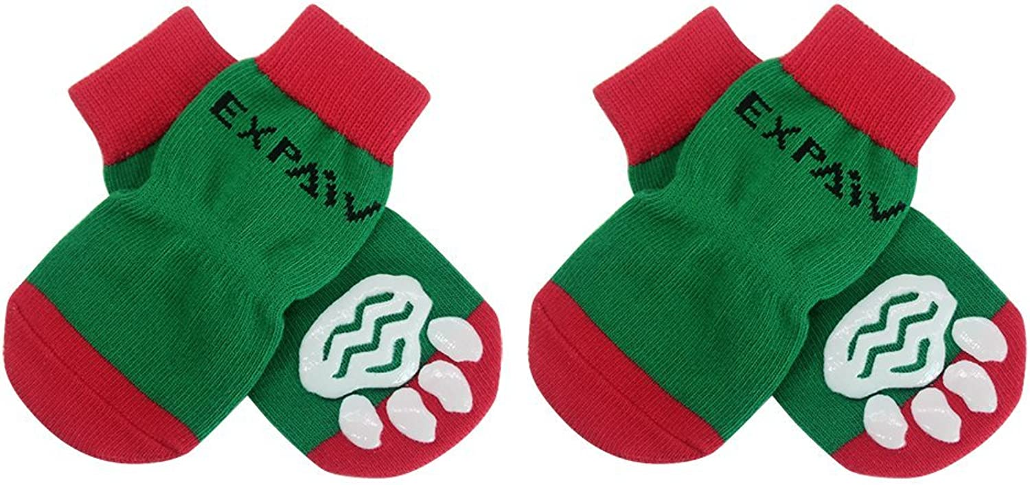 EXPAWLORER Christmas Dog Socks Non Slip for Hardwood Floors  AntiSlip Socks for Small to Large Dogs, Traction Control, Paw Predection, XLarge