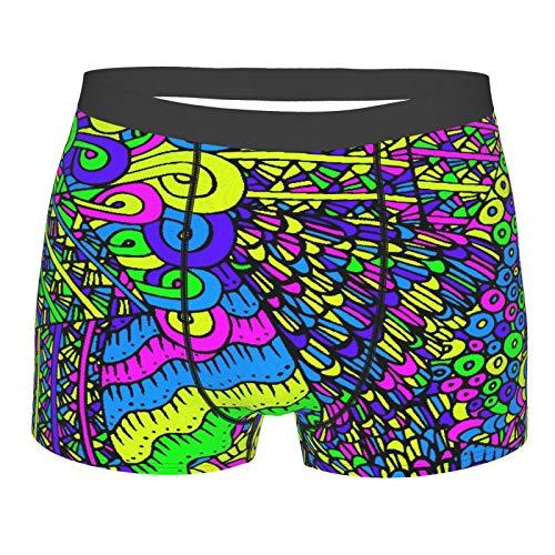 ZELXXXDA Männerunterwäsche,Buntes helles abstraktes 60 Hippie-Farb-verrücktes kreatives Design, Boxershorts Atmungsaktive Komfortunterhose Größe S