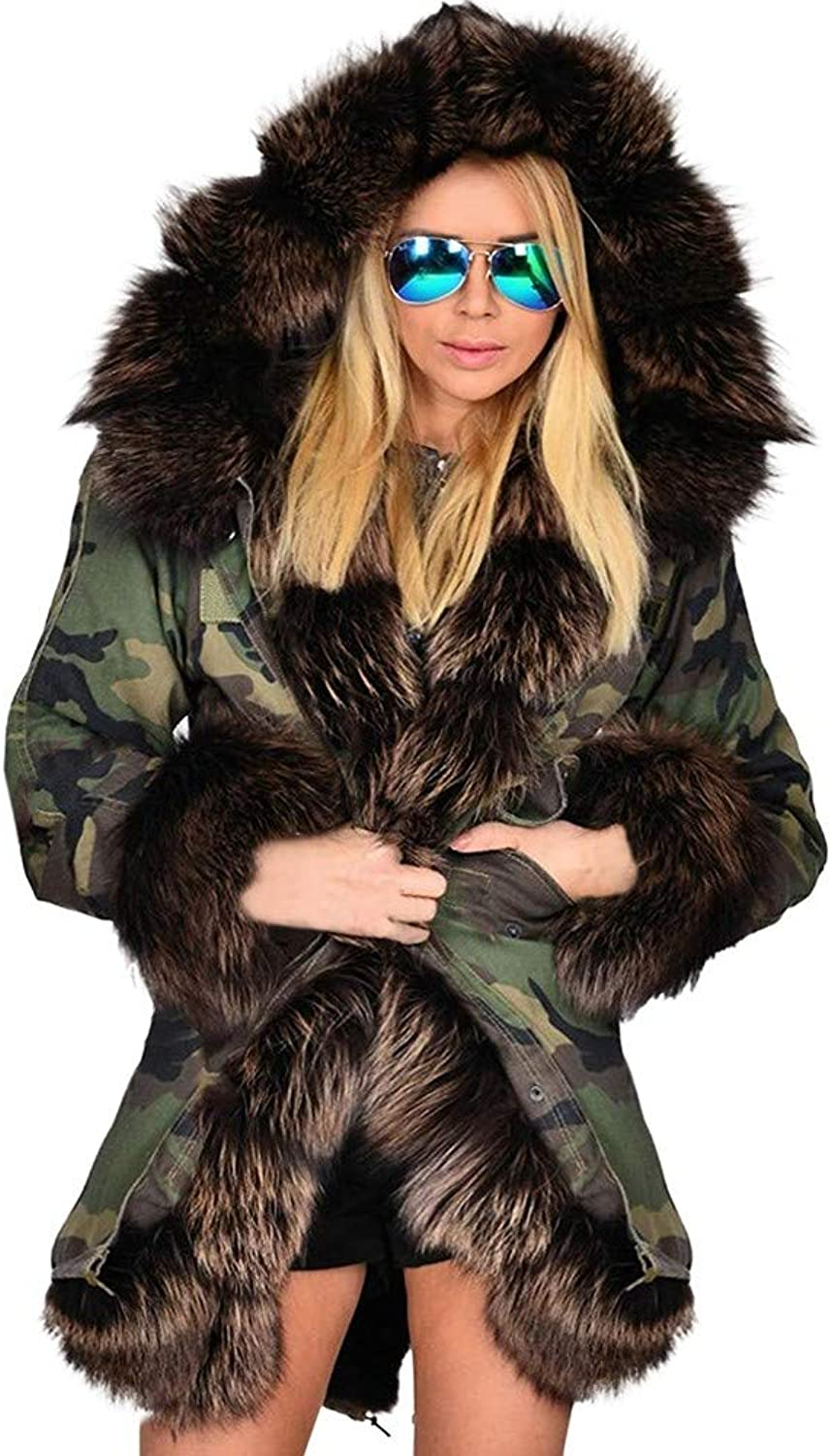 DaySeventh Clothes Womens Faux Fur Winter Jacket Parka Hooded Coat Fishtail Long