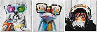 """3 Panel Modern Paintings Canvas Wall Art Dog Frog Gorilla Monkey on Vintage Wood Background Rustic Home Decoration - 24""""x24""""x3"""