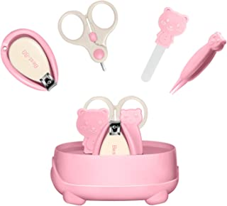 Best-BB Baby Nail Kit Baby Nail Clippers, Scissors, Nail File, Tweezers, Baby Grooming Kit 4-in-1 Cute Case Baby Manicure Kit and Pedicure Kit for Newborn, Infant & Toddler -Pink