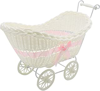 SAFRI Baby Pram Hamper Wicker Toy Basket with Handles and Wheels Great Gift for Boy  amp  Girl Baby Showers Newborn Baby Gifts  Pink
