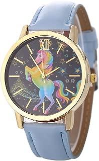 YAMULA Colorful Unicorn Stars Classic Leather Strap Women Quartz Watches