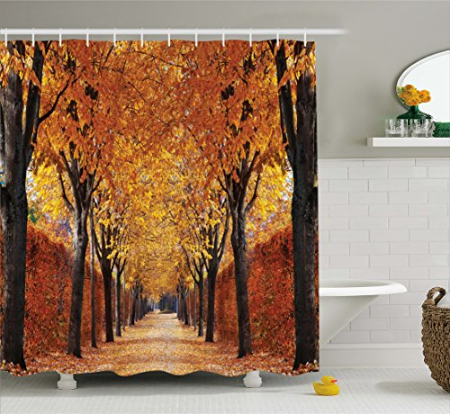 Ambesonne Autumn Shower Curtain, Pathway in The Woods Covered Dried Deciduous Tree Leaves Romantic Fall Season, Cloth…