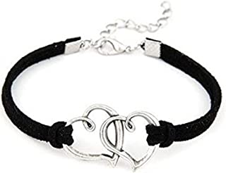 Karatcart Heart Shaped Black Leather Charm Bracelet For Women