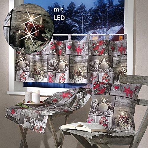 günstig Heimtexland Scheibenvorhang mit LED-Beleuchtung, 45 x 120 cm Flimmern.  Drucken Sie Fotos auf Weihnachtsvorhänge… Vergleich im Deutschland