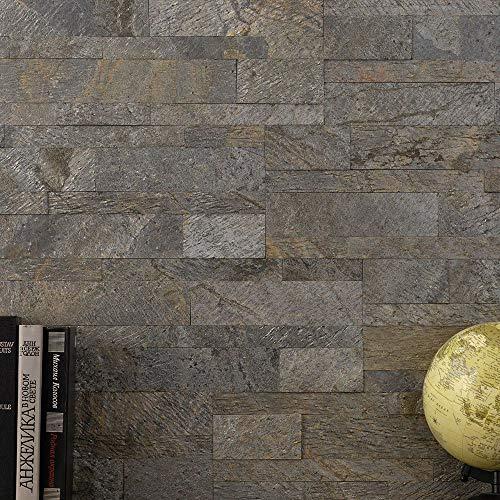 ウォールパネル タイルシール 天然石 デコストーン クォーツァイト トーキョー 1箱 10枚入り CSZ 壁材 腰壁 レンガ 石目調 3D 立体