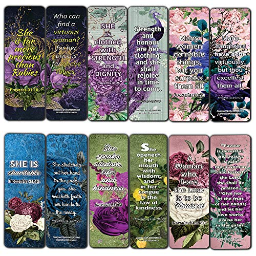 Virtuous Women Proverbs 31 KJV Scriptures Bookmarks for Women (60-Pack) - Best Giftaway for Women Ministries