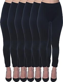 Active Club 6 Pack Women's Fleece Lined Soft,High Waist,Slimming,Winter Warm Leggings-Plus Size Leggings