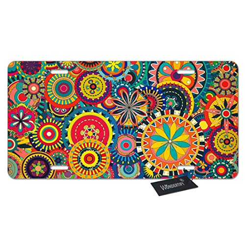 WONDERTIFY License Plate Trippy Tribal Colorful Sunburst Flowers Circles Decorative Car Front License Plate,Vanity Tag,Metal Car Plate,Aluminum Novelty License Plate,6 X 12 Inch (4 Holes)