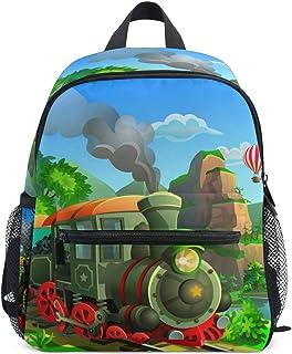 MOFEIYUE Kids Backpack Steam Train Kindergarten Toddler School Bag for Boy Girl
