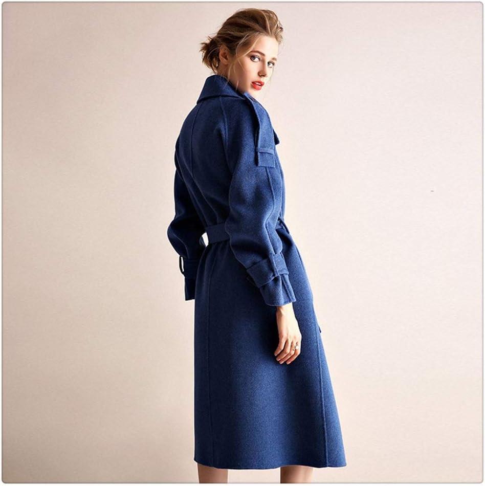 ZTTZX Women's Coat Double-Sided Cashmere Coat Women's Woolen Woolen Coat Women Winter Style was Thin Thick Coat Women Casual Jacket (Color : Blue, Size : Medium)