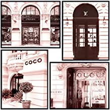 Photo of Coco, Gucci, Prada, Louis Vuitton, LV Designer Stores - Glam Wall Decor Set - High Fashion Design Wall Art Room Decoration - Chic Luxury Couture Poster Picture Prints - Unique Gift for Women