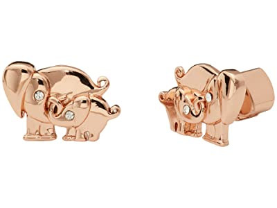 Kate Spade New York Mom Knows Best Elephant Studs Earrings (Clear/Rose Gold) Earring
