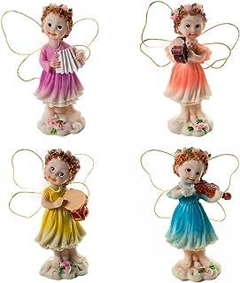 Hanzou Hanging Doll 4pcs Fairy Garden Fairies Accessories Miniature Musical Fairies Figurines Kit