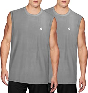 acetek Men's Sleeveless Shirts 2 Pack,Sport Fitness Muscle Workout Tank Tops Pack of 2