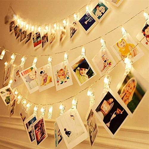 Dopheuor Photo Clip String Lights LED Fairy Clip String Lights Hanging Photo Pictures Battery Operated for Gifts Pati...