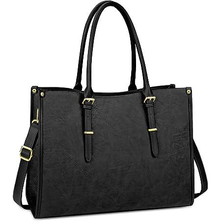 Laptop Bag for Women 15.6 Inch Waterproof Lightweight Leather Laptop Tote Bag Womens Professional Business Office Work Bag Briefcase Computer Bag Shoulder Handbag Black