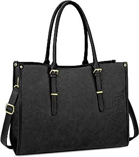 Laptop Bag for Women 15.6 Inch Waterproof Lightweight Leather Laptop Tote Bag Womens Professional Business Office Work Bag Briefcase Large Computer Bag Shoulder Handbag Black