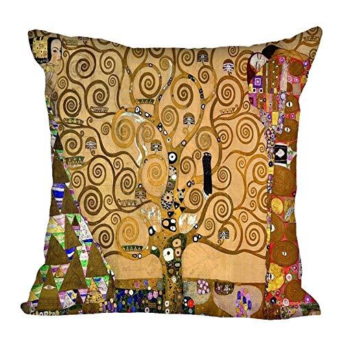 Zodiark Jewellery - Federa per cuscino con scritta 'L'albero della vita', motivo: Fregio Gustav Klimt, 45 x 45 cm