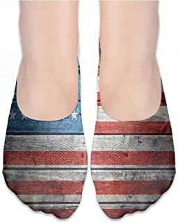 Women Beautiful Colorful Socks Rustic American USA Flag,July Independence Day Weathered Antique Wooden Looking National Celebration Image,socks men pack