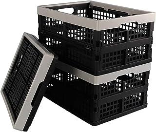 Vareone Boîte Cagette Caisses de Rangement Pliables Empilable en Plastique, Gris et Noir, Lot de 3