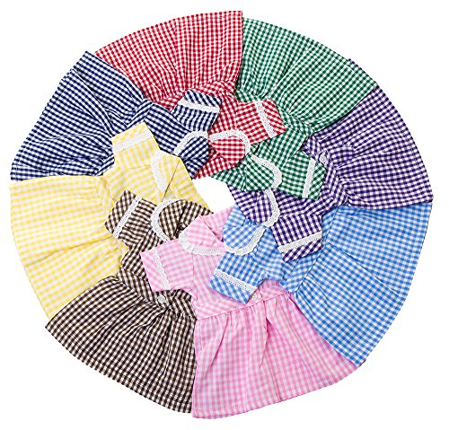 DOLLS SCHOOL SUMMER UNIFORM DRESS BY FRILLY LILY ,CHOICE OF 8 COLOURS [...