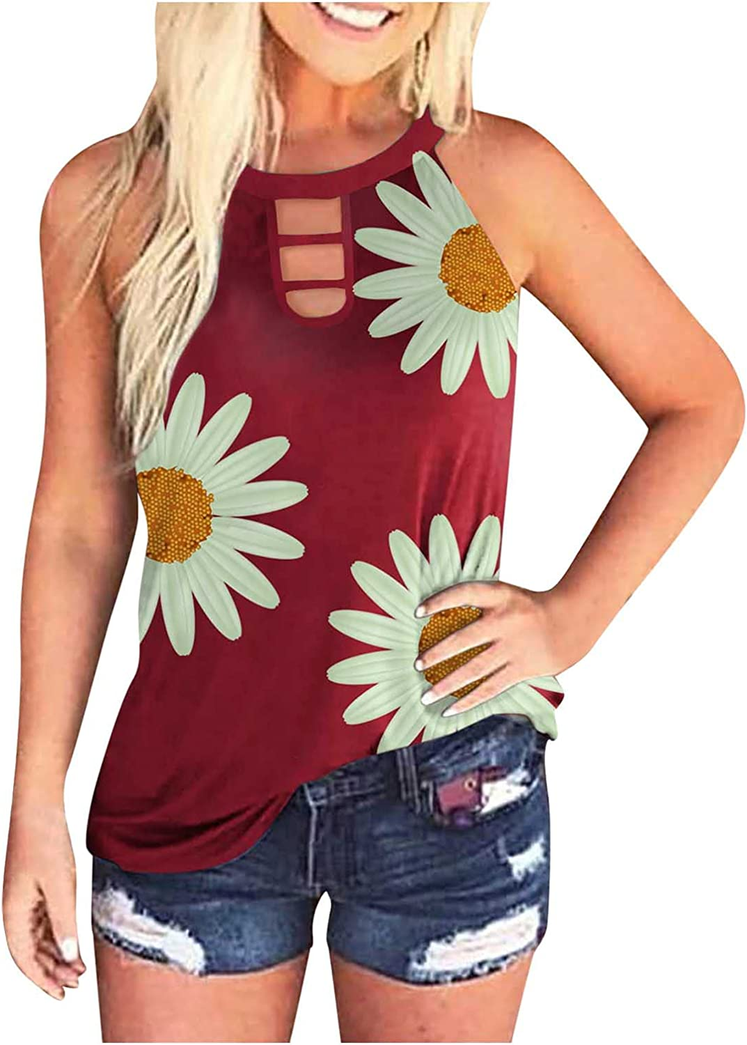 felwors Tank Tops for Women Casual, Womens Summer Sleeveless Tie-Dye Loose Fit Tee Shirts Tunics Blouses Vest Tops