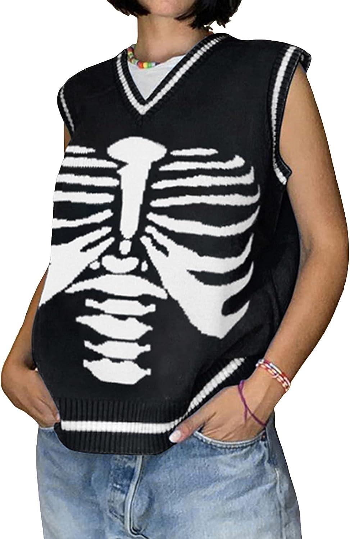lookwoild Women Fashion V Neck Sweater Vest Preppy Style Knitwear Tank Top Cable Knit Sleeveless Sweater Streetwear