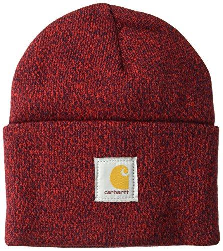 Carhartt Herren Knit Cuffed Beanie Winter-Hut, Rot/Marineblau, Einheitsgröße