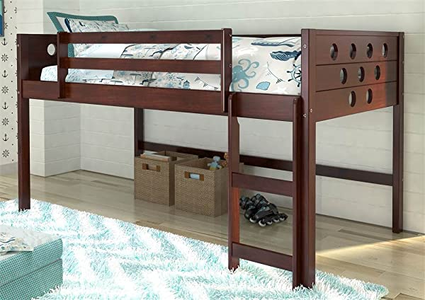 Donco Kids Twin Circles Low Loft Bed In Dark Cappuccino