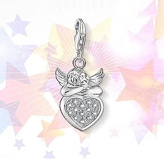 Damen-925Er Silber-Anhänger,Mode Romantisch Kettenlose Cute Angel Heart Shape Charm Anhänger Für Damen Schmuck Zubehör Geburtstagsgeschenk Zubehör Von Drittanbietern