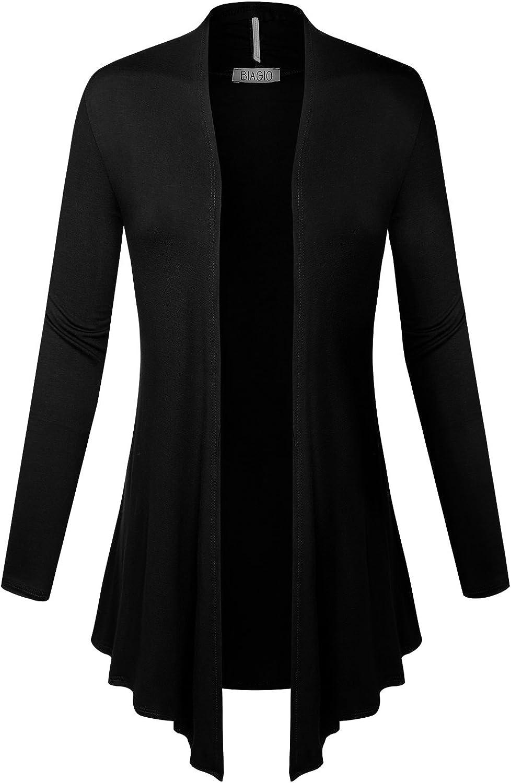 BIADANI Women Open Front Lightweight Cardigan with Side Pockets Black Medium