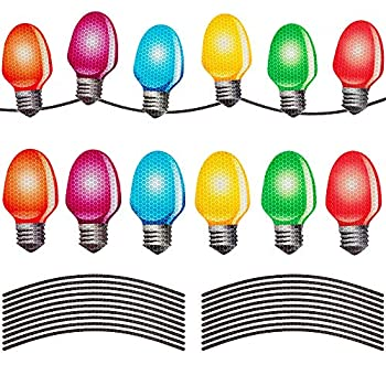 D-FantiX Reflective Christmas Car Magnets Set Xmas Holiday Automotive Light Bulb Shaped Magnets for Refrigerator Mailbox Car Christmas Decorations 12 Pack with 22 Wire