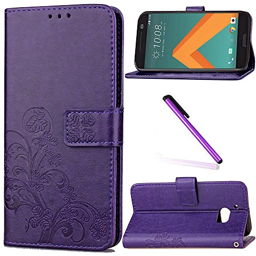 HTC 10 Case,HTC One M10 Case,HTC M10 Case,LEECOCO Embossed Lucky Clover Floral Design with Card Slots Magnetic Flip Stand Shockproof PU Leather Wallet Case for HTC 10 Clover Purple