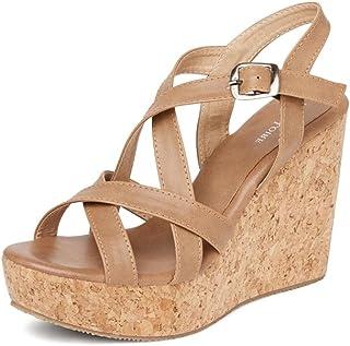 MarcLoire Open Toe Wedges Heels for Women,Marc Loire Wedges Sandals, Girls/Ladies,Tan, Size - 3UK/IND to 8UK/IND