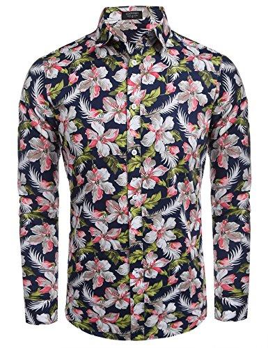 Coofandy Camisa Hawaina Hombre Formal Original con Botones Azul marino y flor S