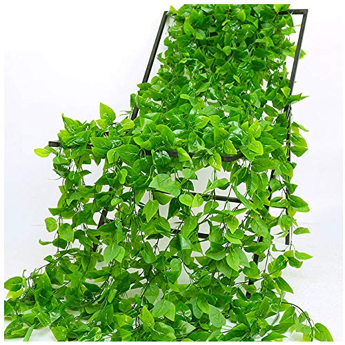 CozofLuv 5 Strands Artificial Ivy Plant Garland Vines Artificial Garland Vine Strips Plant Garland for Wedding Garden Wall Decoration Office Celebration Kitchen (Green 4)